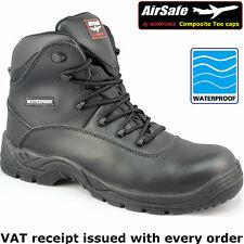 """""""AirSafe"""" Waterproof Composite Toe Cap No Metal Leather Safety Boots. Detecting"""