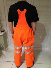 Hi-Viz Vis Orange Dry Shell Foul Weather Railway Over Trousers Waterproof