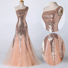 Shiny Long Bridesmaid Wedding Party Prom Formal Evening Dresses Graduation Gowns