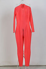 Free Shipping In Stock Men Light Red Latex Catsuit Rubber Zentai