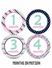 Baby Girl Monthly Photo Shirt Stickers 12 Month Milestone Sticker Newborn #206