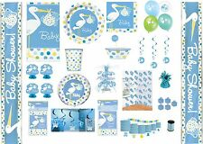 BOY BABY SHOWER PARTY TABLEWARE DECORATIONS BALLOONS BLUE STORK DESIGN