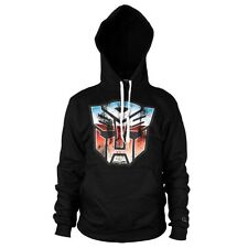 Official Transformers Autobot Shield Logo Hoodie Hooded Top - Black Distressed