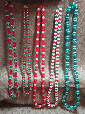 Lot of 7 Assorted Hand Made Beaded Christmas Holiday Party Favor Necklaces