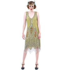 Unique Vintage Green & Silver Embroidered Somerset Flapper Dress
