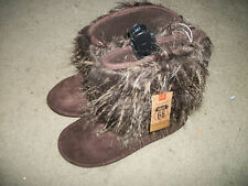 Route 66 Sassy  moccasin style slippers furry Faux fur New S  XL Brown