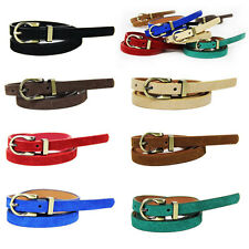 Woman's Candy Color PU Leather Buckle Waistband Thin Skinny Belt Adjustable AU13