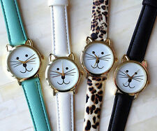 Cute Cat Design Leather Quartz Analog Luxury Lady Women Leather Wrist Watch