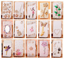 Luxury Hot 3D Diamond Rhinestone Bling Flip Wallet PU Leather Case Cover For LG