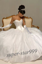 New White/Ivory Organza Strapless Beaded Bridal Wedding Dress Stock Size 6-16