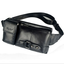 Men Genuine Leather Rivets Messenger Sling Chest Belt Pouch Fanny Pack Waist Bag