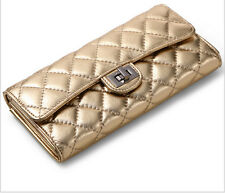 New leather clutch wallet sheepskin ladies fashion Quilted Clutch 100% leather