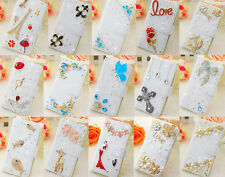 Luxury 3D Diamond Bling Flip Wallet Leather Case Cover for Alcatel One Touch W