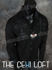 """Mens """"HOUSE OF LORDS"""" Button Shirt BLACK Leather Double Cross ROAR with Class!"""