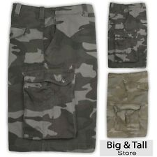 Big Men's True Nation Camouflage Cargo Shorts Twill Cotton Camo Sizes 44 - 60