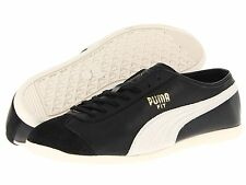 Puma Fit Shoes Mens Athletic Black Off White Fashion Sneakers Leather Trainers