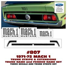 807 1971-72 MUSTANG - TRUNK STRIPE  with MACH 1 FENDER NAMES and TRUNK NAME