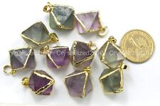 Natural Gemstone Fluorite Rhombus Reiki Healing Pendant Necklaces Beads Gold