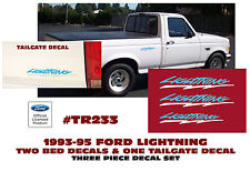 TR233-BLWH 1993-95 FORD F-150 LIGHTNING TRUCK -  BED / TAILGATE DECALS - THREE