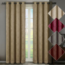 Bella Embossed Grommet Window Curtain Panels Pair (Set of 2) Blackout Weave