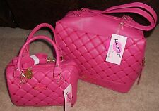 Betsey Johnson Pink Crocheted TOUCH MY HEART Tote Satchel or Combo Ret $146 Set