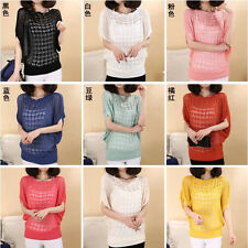 Women Short Sleeve Knitwear Sweater Knitting Cardigan Shawl Outwear Tops blouse