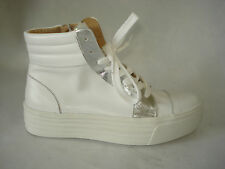New SNEAKERS donna 37-38-39 BIANCO 100% VERA PELLE MADE  ITALY fodera pelle