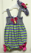 Girls Butterfly Romper with matching Headband - Sizes 3/6mth, 6/9mth, 0/3mth
