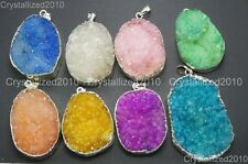 Natural Druzy Quartz Agate Nugget Pendant Charm Necklace Healing Silver Beads
