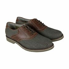 Bass Carson Mens Tan Leather & Synthetic Casual Dress Lace Up Oxfords Shoes