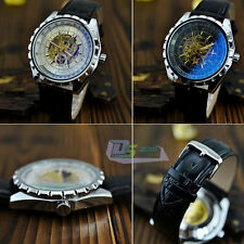 Fashion Leather Band Automatic Skeleton Big Dial Mechanical Men's Wrist Watch