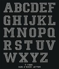 """2"""" Block LETTERS number iron-on HOTFIX MOTIF RHINESTONE patch colledge font DIY"""