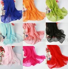 New Fashion Soft Long Solid Color Scarf Wraps Chiffon Neck Head Scarves Shawl