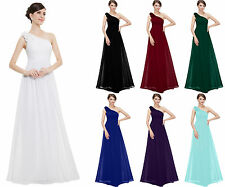 One Shoulder Prom Bridesmaid Dress Long Prom Party Evening Formal Wedding Gowns