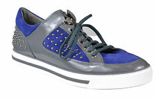 Versace Men's Leather Riveted Fashion Sneakers Blue Grey