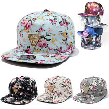 New Women Floral Flower Snapback Hip-Hop Hat Flat Galaxy Adjustable Baseball Cap