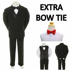 New Teen Boy Black FORMAL Wedding Prom Party Tuxedo Suit + Red Bow Tie 16-20