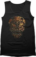 Rhinestones Studs Sugar Skull Mens Black Tank Top Gold Candy Skull S to 4XL