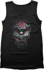 Rhinestones Sugar Skull Mens Black Tank Top Evil Eyes Rose Candy Skull S to 4XL