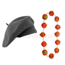 GREY BERET HAT AND ONION GARLAND NECKLACE FRENCH MAN FANCY DRESS COSTUME SET