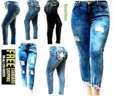 J&K PLUS SIZE WOMEN'S Stretch ACID WASH BLUE denim jeans SKINNY PANTS DB-39243MS