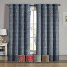 TRISTA Grommet Embroidered Curtain, Set of 2 panels Pair 76X84 inch long