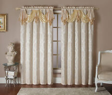 MAXWELL Jacquard Rod Pocket Panel Set of 2 Panels 110Wx90L With Attached Valance