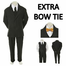 Teen Boy Black FORMAL Wedding Prom Party Tuxedo Suit+ Yellow Bow tie sz 16-20