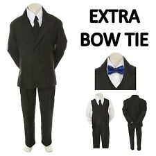 Teen Boy Black FORMAL Wedding Prom Party Tuxedo Suit+Royal Blue Bow tie sz 16-20