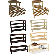 2/3/4 Tier Wooden Slatted Shoe Rack Storage Organiser Boot Stand Shelving Unit