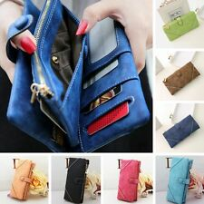 Vintage Women Fashion Leather Wallet Button Clutch Purse Lady Long Handbag Bag