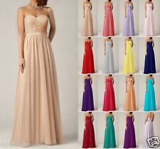Long Chiffon Formal Evening Party BallGown Prom Lace Bridesmaid Dress Size 6-18-