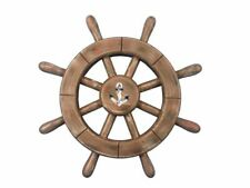 """Rustic Wood Finish Decorative Ship Wheel With Anchor 12""""- Beach Decorating Ideas"""