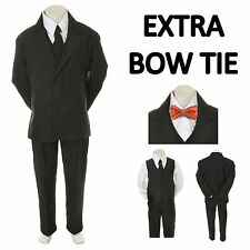 New Teen Boy Black FORMAL Wedding Prom Party Tuxedo Suit+Orange Bow tie sz 16-20